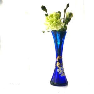 Cobalt Blue Vintage Handpainted Floral Glass Vase